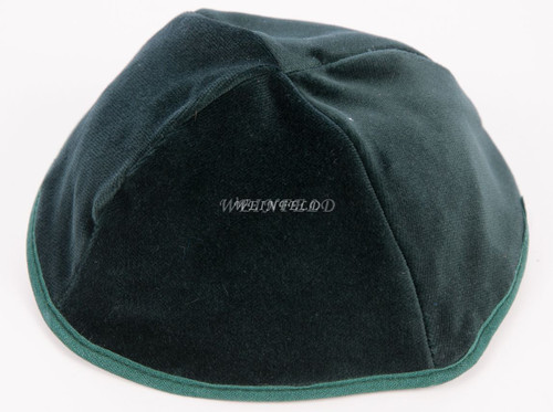 Real Velvet Yarmulkes - 4 Panels - Lined - Medium Style - With Rim (Band) - Green