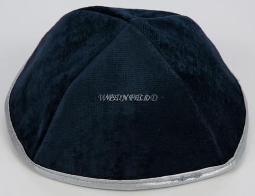 Real Velvet Yarmulkes - 4 Panels - Lined - Medium Style - With Rim (Band) - Navy