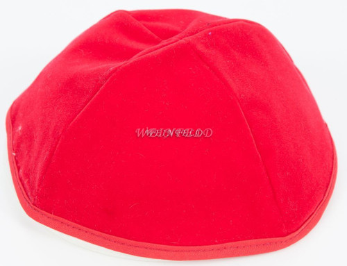 Real Velvet Yarmulkes - 4 Panels - Lined - Medium Style - With Rim (Band) - Red