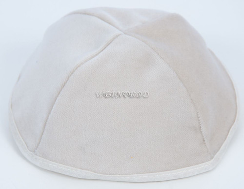 Real Velvet Yarmulkes - 4 Panels - Lined - Medium Style - With Rim (Band) - White