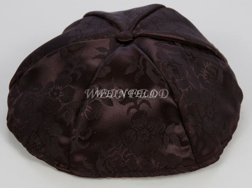 Brocade Yarmulkes 6 Panels - Lined - Brown With Button on Top