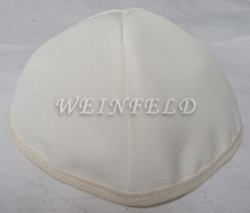 Faux Linen Yarmulkes - Ivory with Ivory Rim