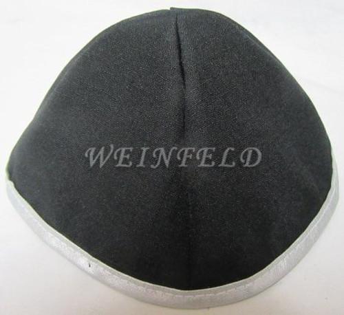 Faux Linen Yarmulkes - Black with White Rim