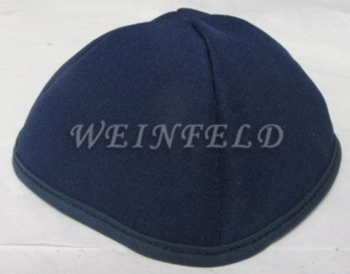 Faux Linen Yarmulkes - Navy with Navy Rim