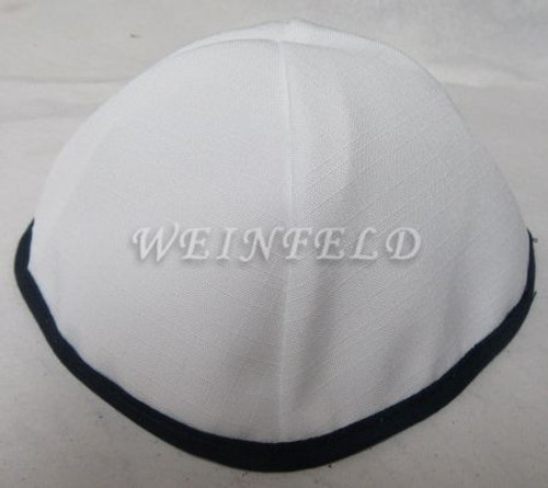 Faux Linen Yarmulkes - White with Black Rim