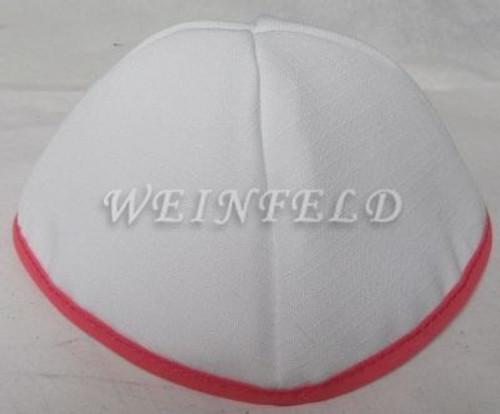 Faux Linen Yarmulkes - White with Fuchsia Pink Rim