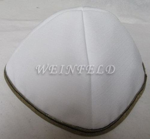 Faux Linen Yarmulkes - White with Gold Rim