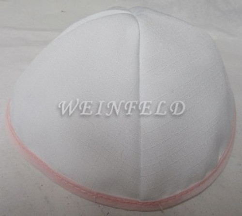 Faux Linen Yarmulkes - White with Lt Pink Rim