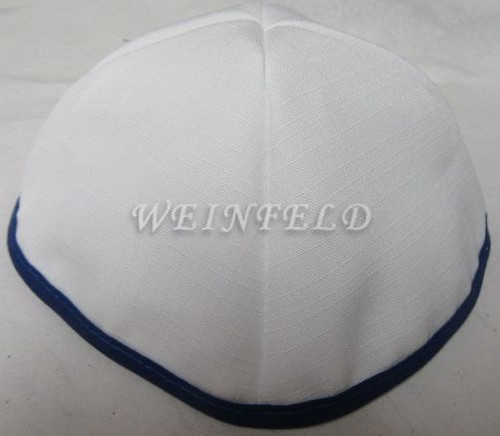Faux Linen Yarmulkes - White with Navy Rim