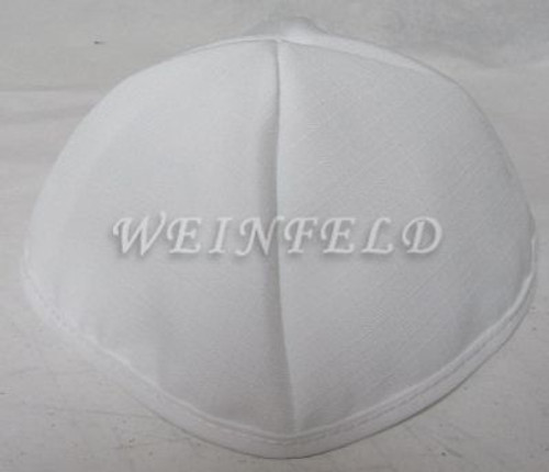 Faux Linen Yarmulkes - White with White Rim