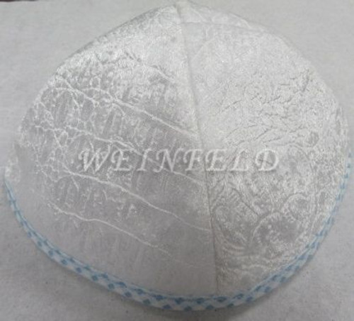 Alligator Yarmulkes - White with Lt  Blue Checkerboard Rim