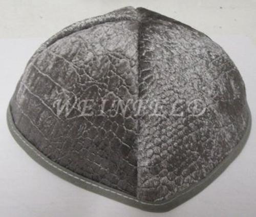 Alligator Yarmulkes - Grey with Grey Rim