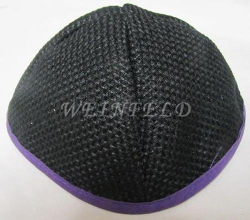 Burlap Yarmulkes - Black Purple
