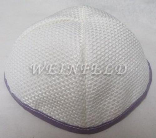 Burlap Yarmulkes - White Lavender