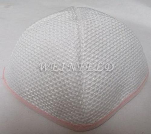 Burlap Yarmulkes - White Light Pink