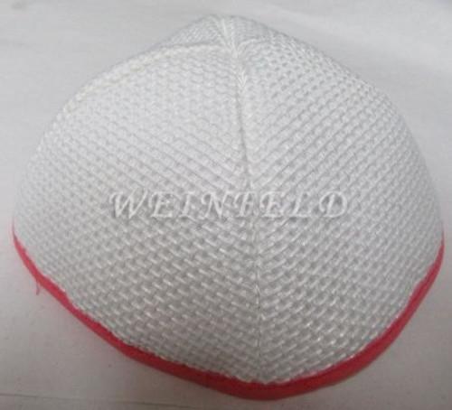 Burlap Yarmulkes - White Pink