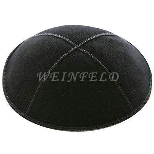 Genuine Suede Kippah - Solid Colors - Black