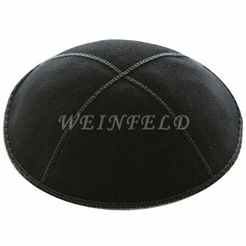 Genuine Suede Kippah - Solid Colors - Black
