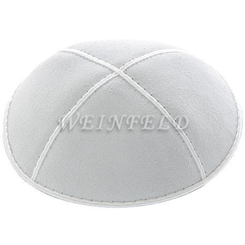 Genuine Suede Kippah - Solid Colors - White