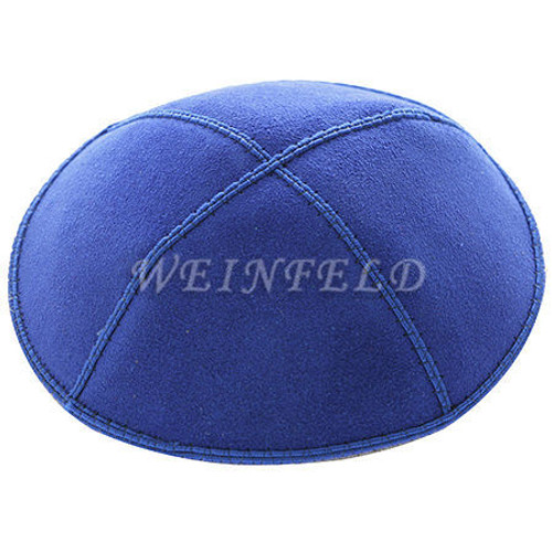 Genuine Suede Kippah - Solid Colors - Royal Blue