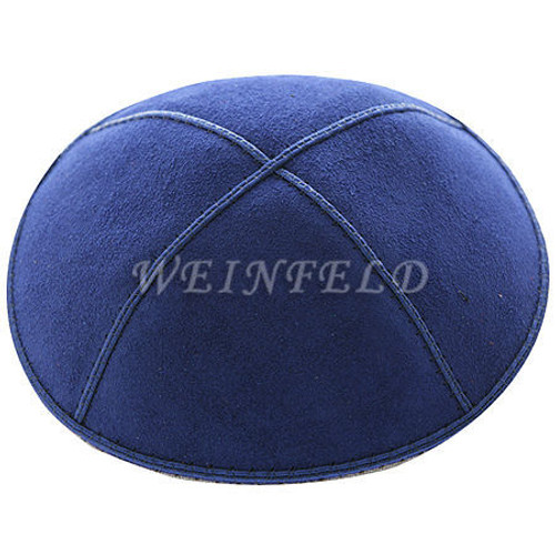 Genuine Suede Kippah - Solid Colors - Dark Royal