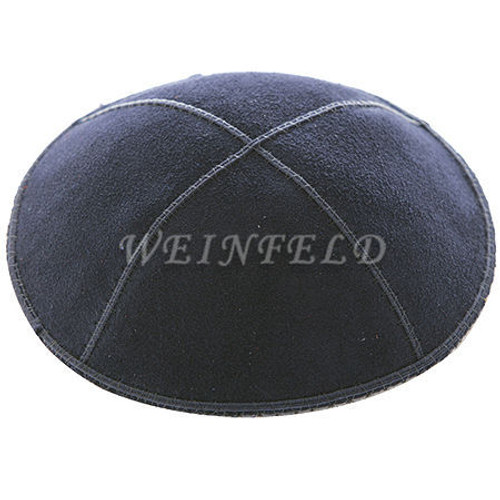 Genuine Suede Kippah - Solid Colors - Navy