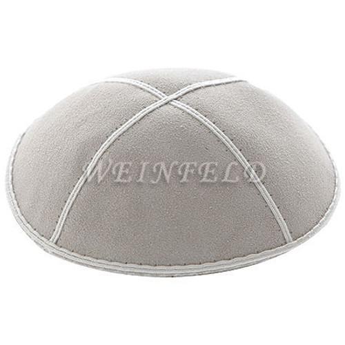 Genuine Suede Kippah - Solid Colors - Light Grey