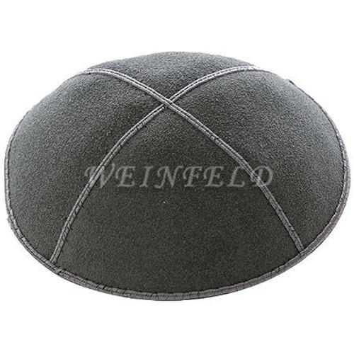 Genuine Suede Kippah - Solid Colors - Charcoal (Dark) Grey