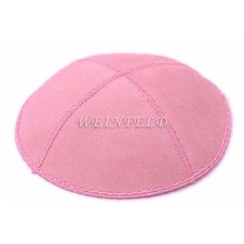 Genuine Suede Kippah - Solid Colors - Light Pink