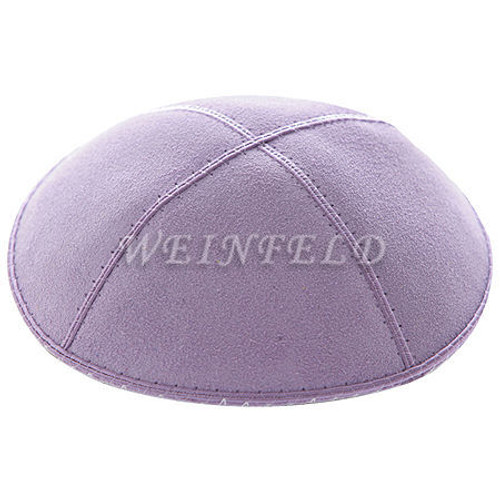 Genuine Suede Kippah - Solid Colors - Lavender