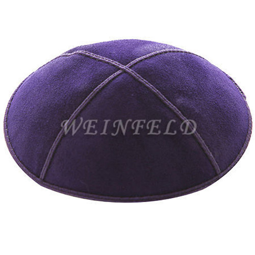 Genuine Suede Kippah - Solid Colors - Purple
