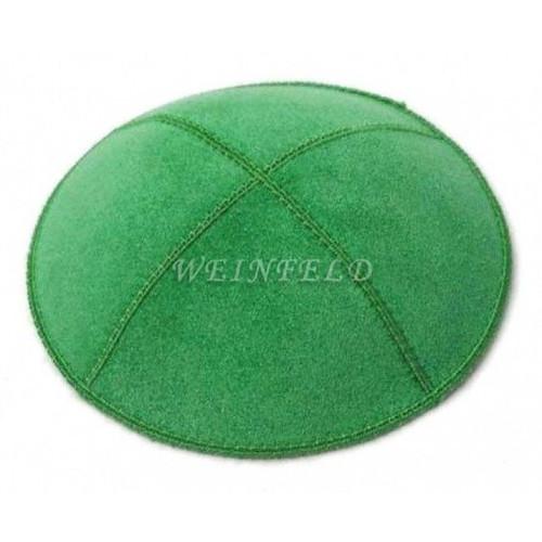 Genuine Suede Kippah - Solid Colors - Kelly Green