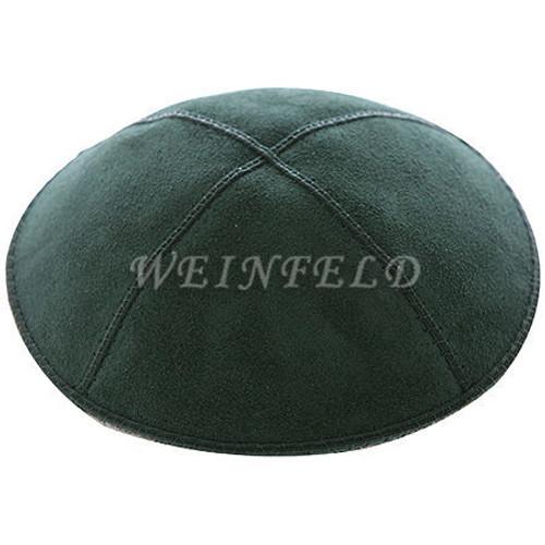 Genuine Suede Kippah - Solid Colors - Hunter (Dark) Green