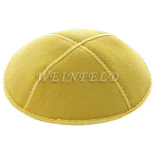 Genuine Suede Kippah - Solid Colors - Yellow