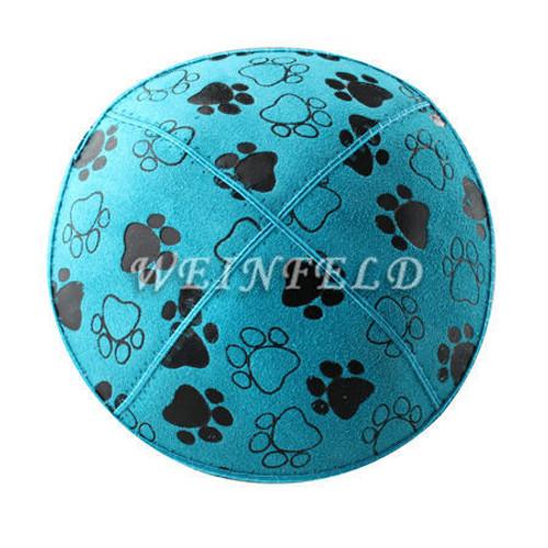 Genuine Suede Yarmulke - Metallic Embossed - Black Paw Prints On Turquise Blue