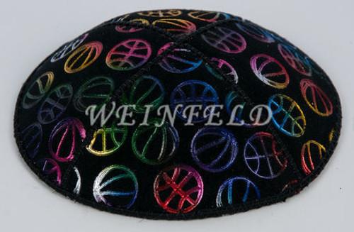 Genuine Suede Yarmulke - Metallic Embossed - Colored Assorted Sport Balls
