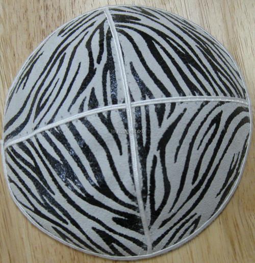Genuine Suede Yarmulkas - White Metallic Embossed - Black Metalic Zebra on White
