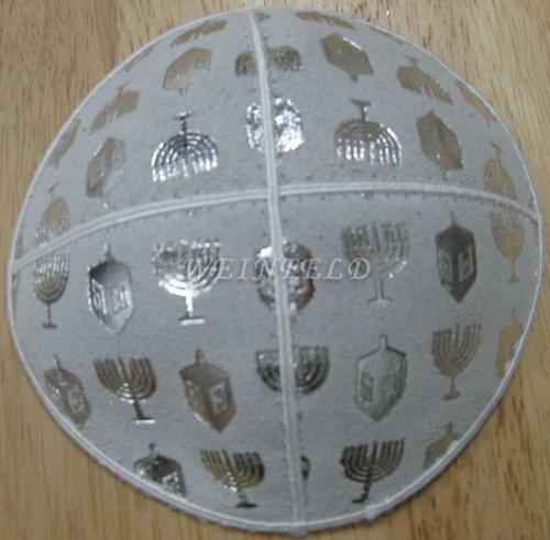 Genuine Suede Yarmulkas - White Metallic Embossed - Silver Metalic Chanukah on White
