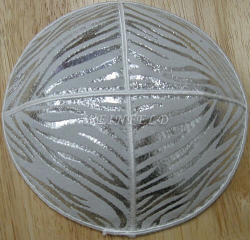 Genuine Suede Yarmulkas - White Metallic Embossed - Silver Metalic Zebra on White