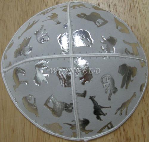 Genuine Suede Yarmulkas - White Metallic Embossed - Silver Metalic Animals on White