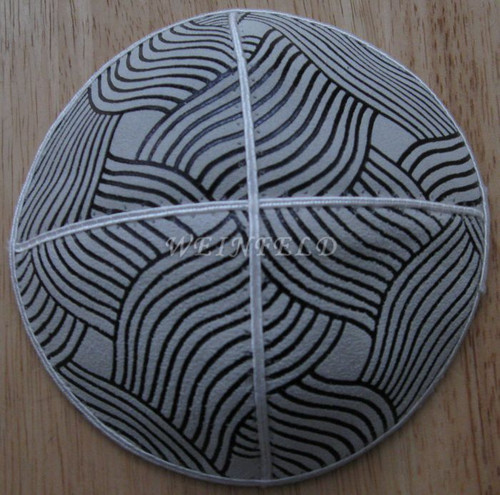 Genuine Suede Yarmulkas - White Metallic Embossed - Black Metalic Waves on White