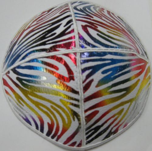 Genuine Suede Yarmulkas - White Metallic Embossed - Colored Metalic Zebra on White