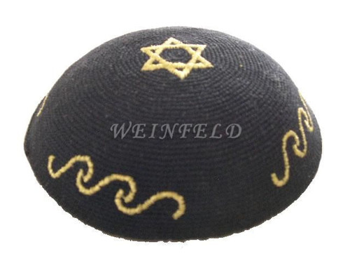 Knit Yarmulkes - Black With Gold Star Of David & Wavy Lines