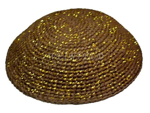 Knit Yarmulkes - Brown With Gold Threads