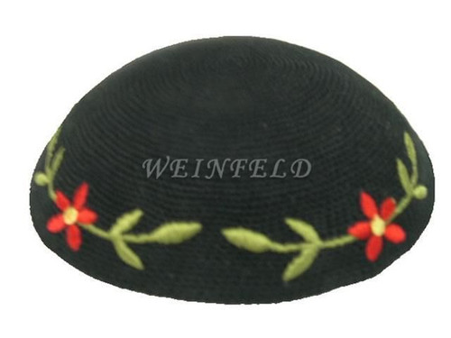 Knit Yarmulkes - Black With Green Leaves & Red Flowers