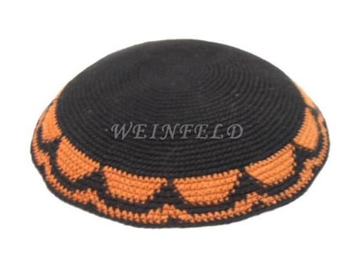 Knit Yarmulkes - Black With Orange Scallop Trim