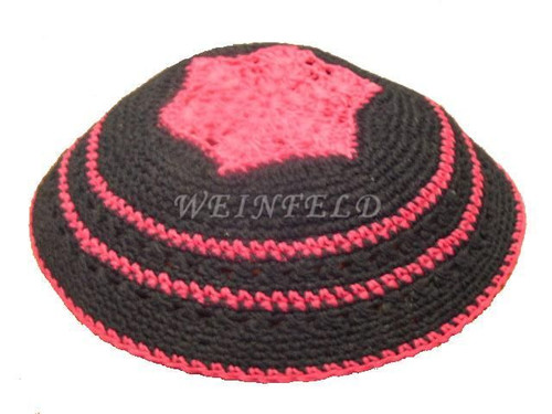 Knit Yarmulkes - Black With Hot Pink Crocheted Design & Trim