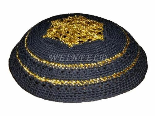Knit Yarmulkes - Black With Gold Crocheted Design & Trim