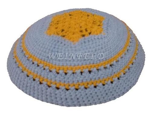 Knit Yarmulkes - Light Blue With Orange Crocheted Design & Trim