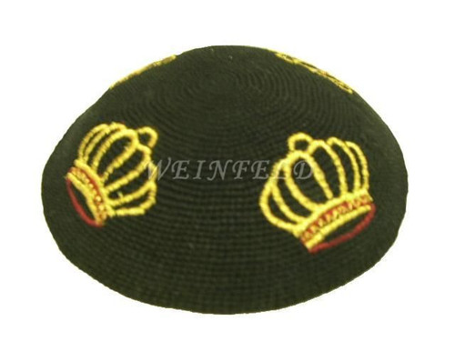 Knit Yarmulkes - Black With Gold Crowns & Red Bases